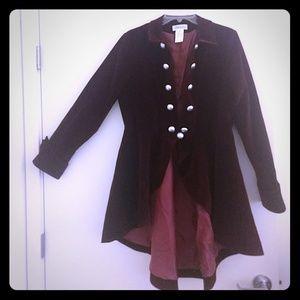 Steampunk Velvet Burgundy Coat